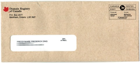 The letter comes in an envelope that almost looks like it's from the Government of Canada