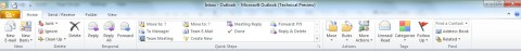 Outlook 2010 has a ribbon now