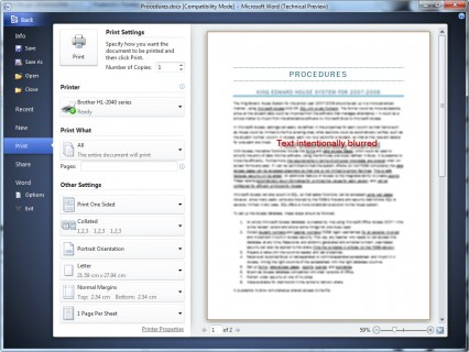 Printing in Word 2010 is a streamlined process