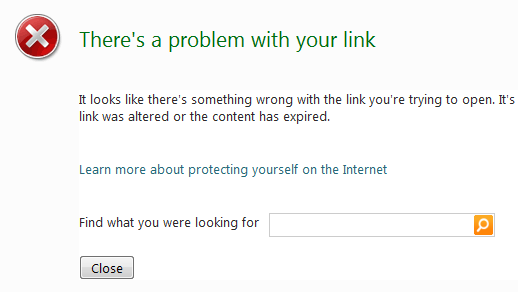 Broken links show a Bing search box in Windows Live Messenger Wave 4
