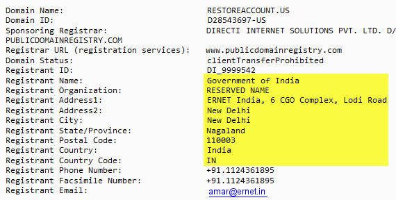 Domain registration information for restoreaccount.us