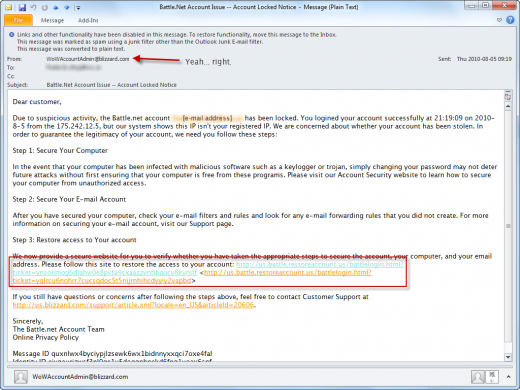 Phishing e-mail purportedly from Blizzard Entertainment