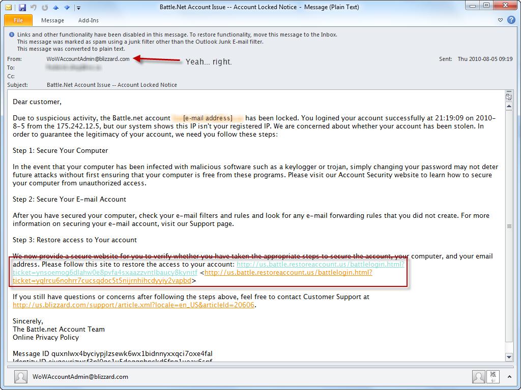Beware phishing e-mails - Battle net scam