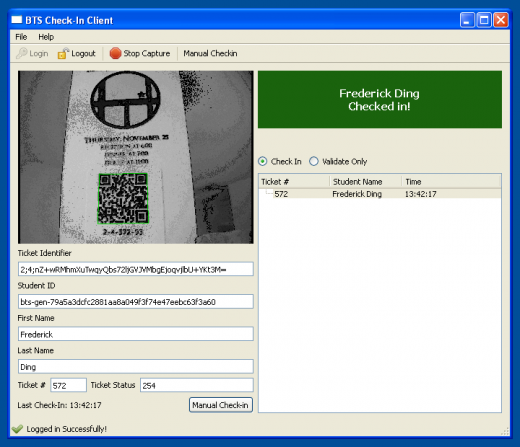 Successful check-in using Barcode Ticket System