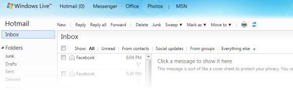 Hotmail inbox screenshot