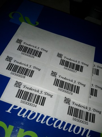 Barcode stickers as book tags