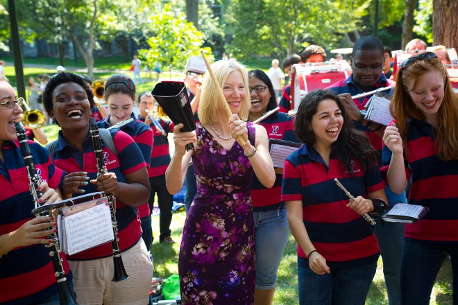 The Penn Band with President Amy Gutmann, during NSO 2012