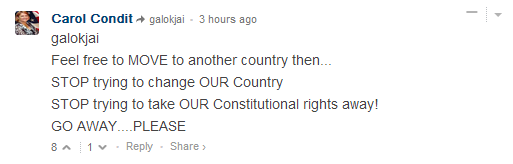 """CNN comment: """"Feel free to MOVE to another country then... STOP trying to change OUR Country STOP trying to take OUR Constitutional rights away! GO AWAY....PLEASE"""""""