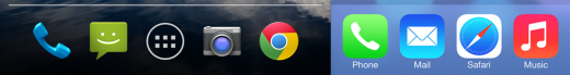A typical set of Android dock icons compared to their iOS 7 equivalents