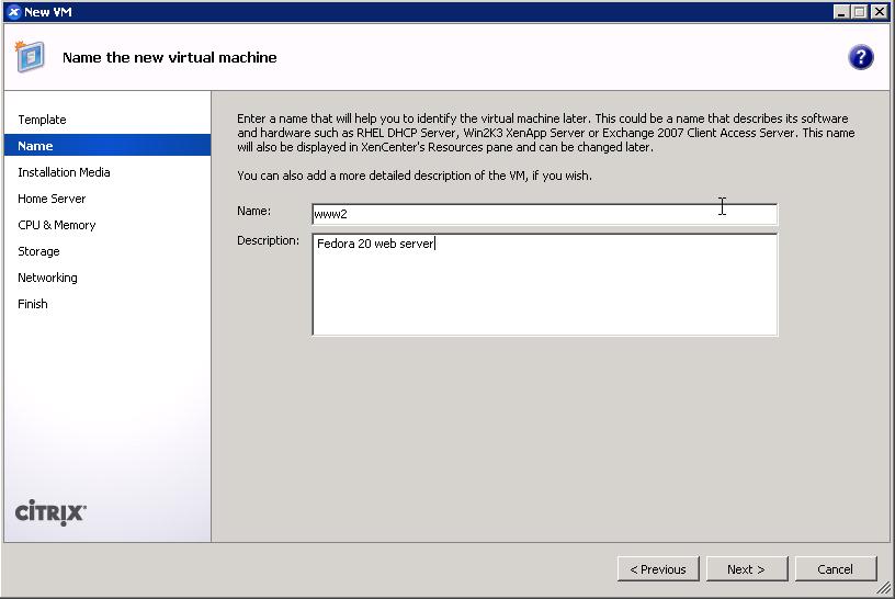 XenCenter add VM wizard - set VM name