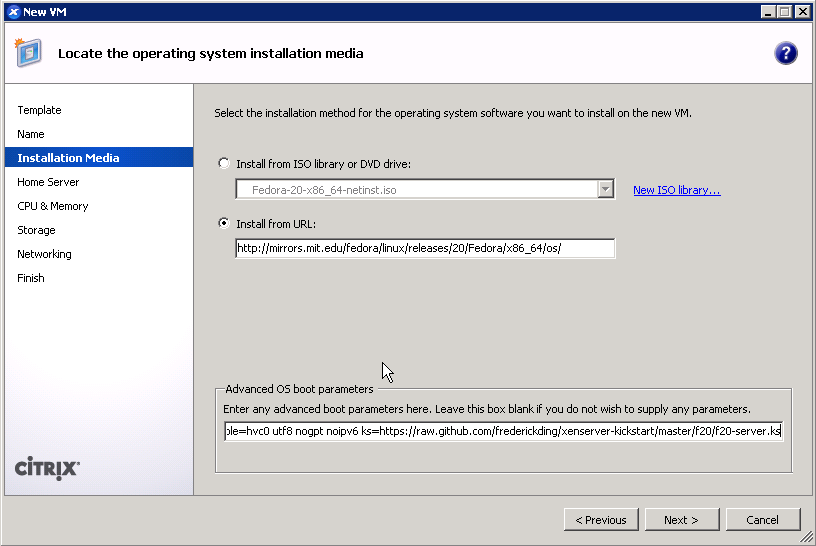 Installing Fedora 20 with a URL to boot from