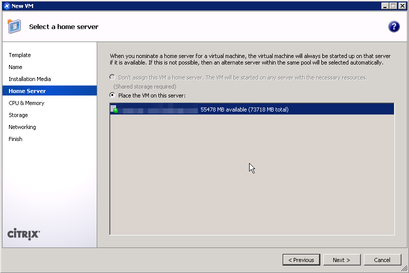 Choose a home server for the XenServer guest