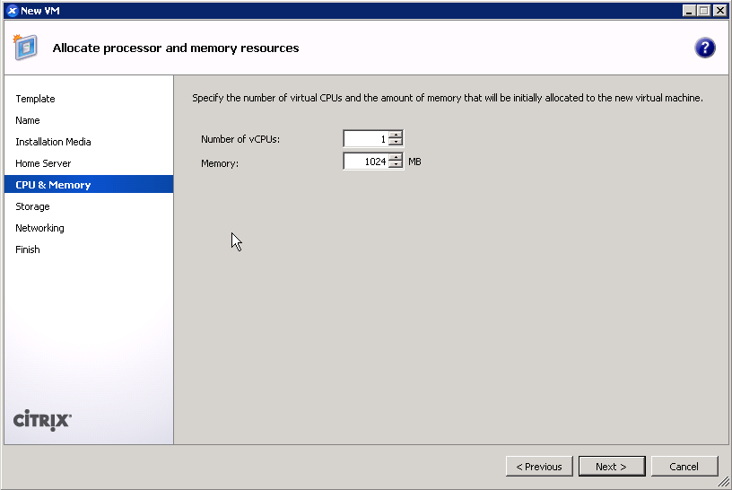 Assign vCPUs and RAM to XenServer guest