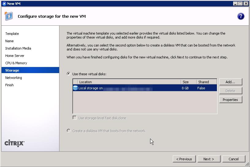 Allocate storage for XenServer guest VM
