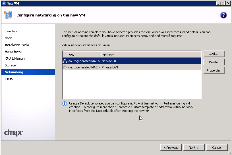 Configure networking for XenServer guest VM