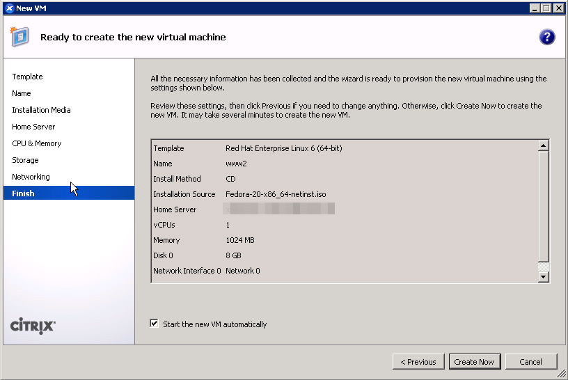 Last step of XenCenter new VM wizard