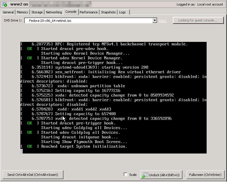 Fedora 20 installer booting up in XenServer