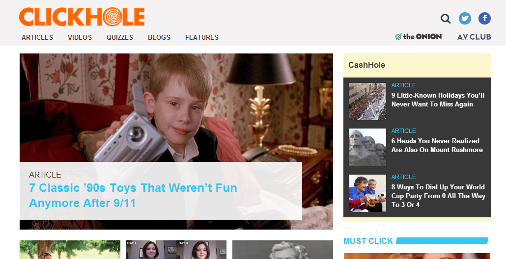 ClickHole, the Onion's parody of viral content