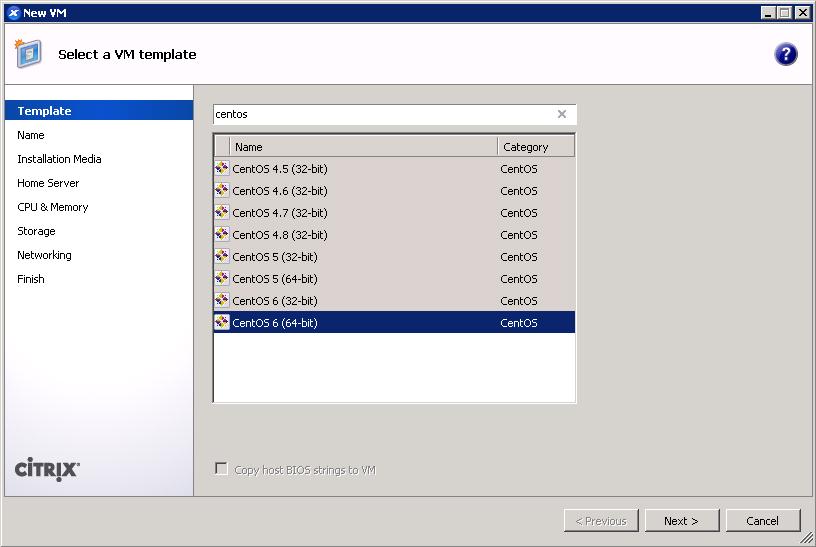 XenCenter add VM wizard - CentOS 6 template