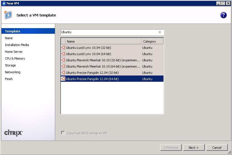 XenCenter add VM wizard - Ubuntu 12.04 template