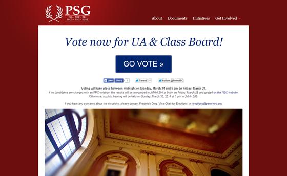 PSG voting landing page