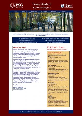 Penn Student Government site circa 2011