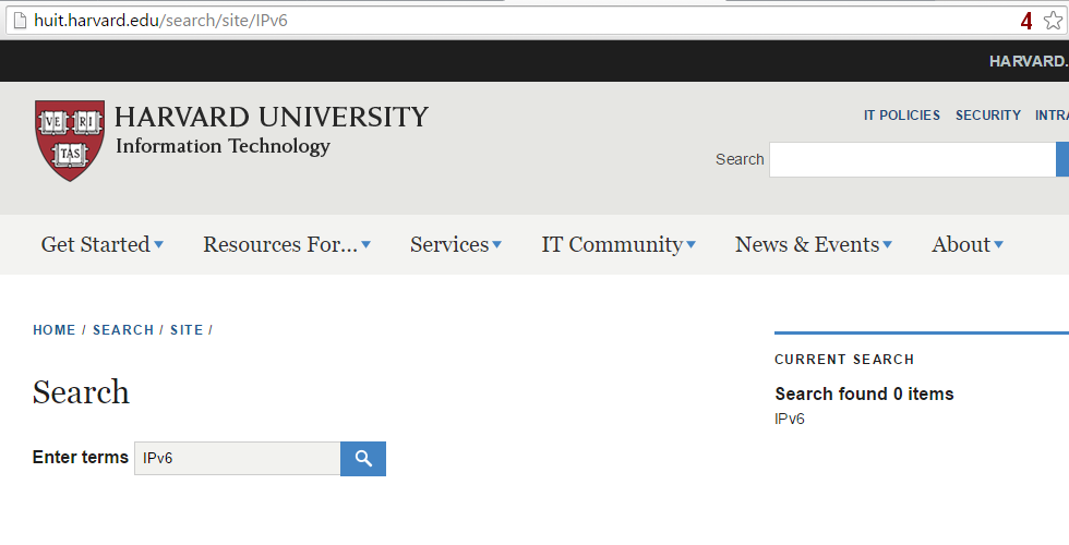 Harvard University Information Technology - no search results for IPv6